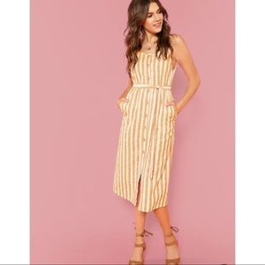 NWOT • Yellow and white striped tie dress